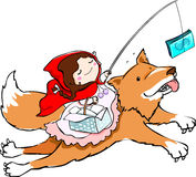 Red riding hood with money Stock Images