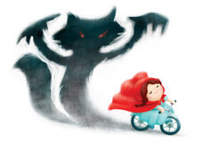 Red riding hood ride bicycle with shadows fox behind Royalty Free Stock Photography