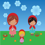 Red riding hood sisters Royalty Free Stock Photos