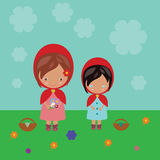 Red Riding Hood sisters Stock Photos