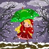 Red riding hood  on snowy day Stock Photography