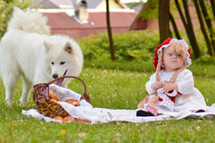 Red riding hood and a wolf Royalty Free Stock Photo