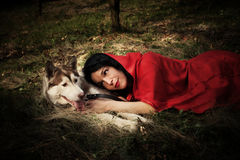 Red riding hood and the wolf Royalty Free Stock Photo