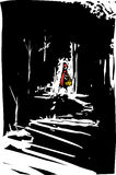 Red riding hood. Woodcut style expressionist image of red riding hood in the dark forest Stock Photos