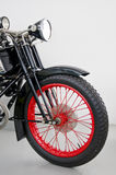 Red rimmed mororcycle. Portrait of a red rimmed motorcycle Royalty Free Stock Photography