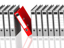 The red ring binder. 3d generated picture of a red ring binder in a row of grey ones stock illustration