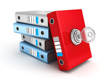 Red Ring Binder Folder Locked With Key Royalty Free Stock Images