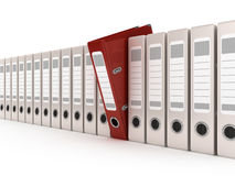 Red ring binder standing out from a row of files. 3d illustration Royalty Free Stock Photography