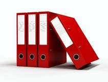 Red ring binders. On white background - digital artwork Stock Photos