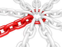 Red ring with chains - conceptual image - teamwork Stock Photo