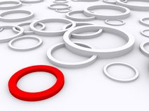 Red ring stands out Stock Photography
