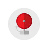 Red ringing alarm bell. Single silhouette fire equipment icon. Vector illustration. Flat style. Red ringing alarm bell. Single silhouette fire equipment icon Royalty Free Stock Photo