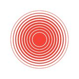 Red Rings sound wave and line in a circle. Tap symbol. royalty free illustration