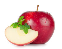 Red ripe apple. With a slice cut Stock Photo