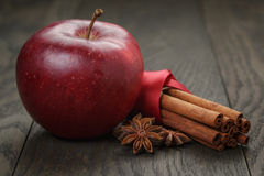 Red ripe apple and cinnamon Royalty Free Stock Image