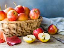 Red ripe apple fruit for autumn and fall food. Red ripe apple fruit on wooden table for autumn and fall food Stock Photo