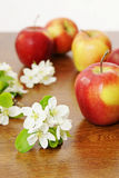 Red ripe apple fruits and white apple flowers on a wooden tabl Stock Images