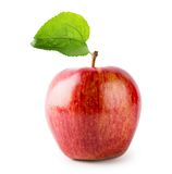 Red ripe apple with green leaf Royalty Free Stock Photography