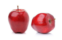 Red ripe apple on white background Stock Photos