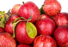 Red ripe apples with green leaves Royalty Free Stock Images