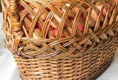 Red, ripe and beautiful apples. Through the bars of the basket. Harvest. Red, ripe and beautiful apples. Through the bars of the basket royalty free stock image
