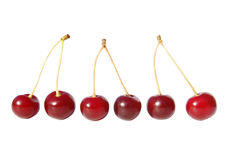 Red ripe cherries. Isolated on white background Stock Photo