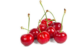 Red ripe cherries. Over white background Stock Images
