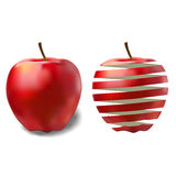 Red ripe juicy apple and its peel Royalty Free Stock Photos