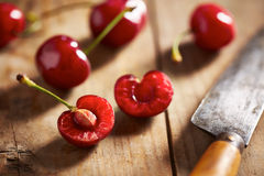 Red ripe open cherry Royalty Free Stock Photo