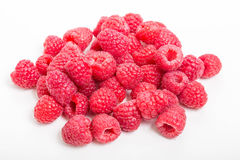 Red Ripe Raspberries on White Royalty Free Stock Image