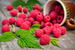 Red ripe raspberries on a wooden background Stock Images