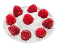 Red ripe raspberry fruit in small round plate Stock Photography