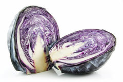 Red Ripe Sliced Cabbage Isolated on White Stock Photo
