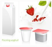 Red ripe  strawberry falling into the milky splash. Vector set of blank milk and yoghurt packs. Red ripe  strawberry falling into the milky splash Stock Images