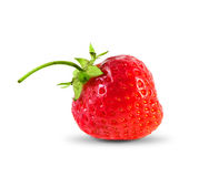 Red ripe strawberry with leaves. Isolated on white Royalty Free Stock Images