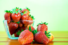 Red ripe strawberry on the table Royalty Free Stock Photo