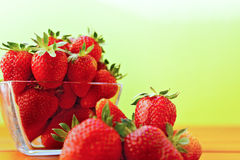 Red ripe strawberry on the table Royalty Free Stock Image