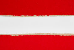 Red riped paper over white background. Red riped paper over white Stock Photography