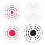 Red ripple rings sound waves icons set, line circle gradient, radio signal black and white lines with big point in vector illustration
