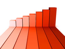 Red rising busines bar graph diagram. 3d render illustration Stock Image