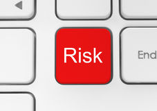 Red risk button on the keyboard. Close-up Royalty Free Stock Images