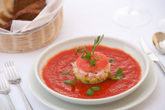 Red risotto. Red gaspazzio with shrimps and risotto Royalty Free Stock Image