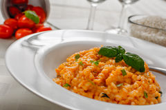Red risotto. With tomato and basil on white plate Stock Image