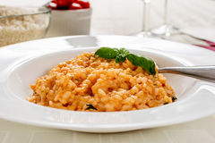 Red risotto. With tomato and basil on white plate Royalty Free Stock Photo