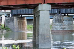 Red River Bridges. View from under the bridges over the Red River bordering Minnesota and North Dakota Stock Photos