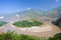 Red river curve shape in Yunnan, China. Stock Images