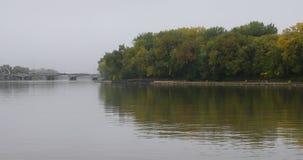 Red River scene in Winnipeg, Canada, 4K stock video