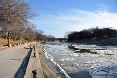 Red River in Winnipeg. View of the Red River embankment in Winnipeg City, Manitoba, Canada. Photo was taken in November 2013 Stock Photography
