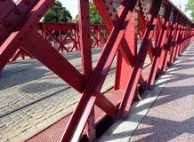 A red rivet bridge Stock Photo