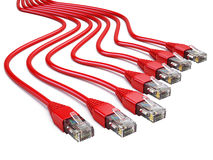 Red RJ45 Ethernet Cables on white background Stock Photos